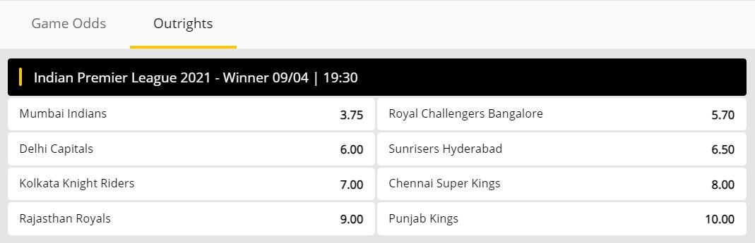 IPL 2021 Betting Odds