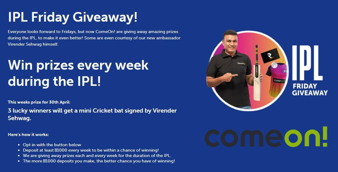 Giveaway: 3 free signed bats from Virender Sehwag