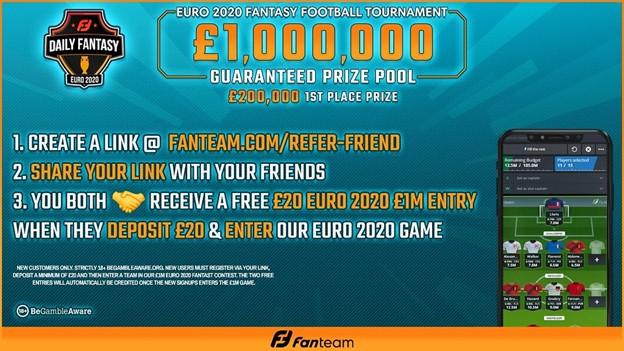 FREE UEFA EURO 2020 League entry with a £ 1M fan team league