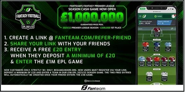 Free access to Fanteam £1M Fantasy Premier League match