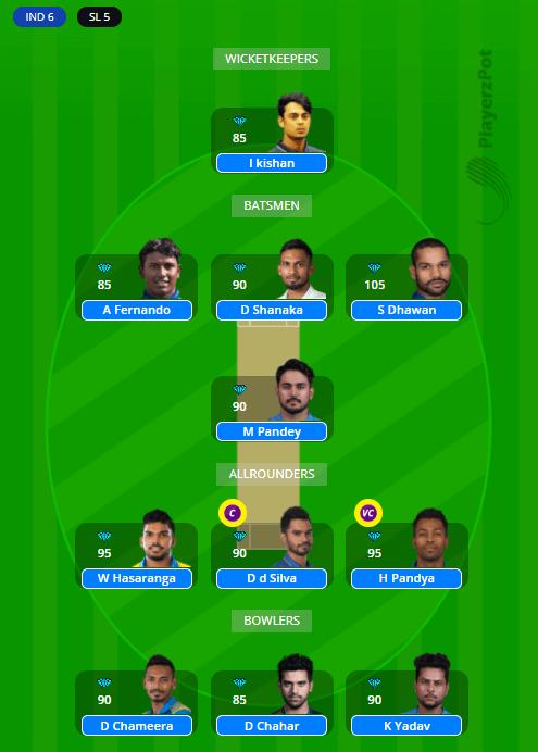 SL กับ IND Dream11 Team - 2nd ODI 2021