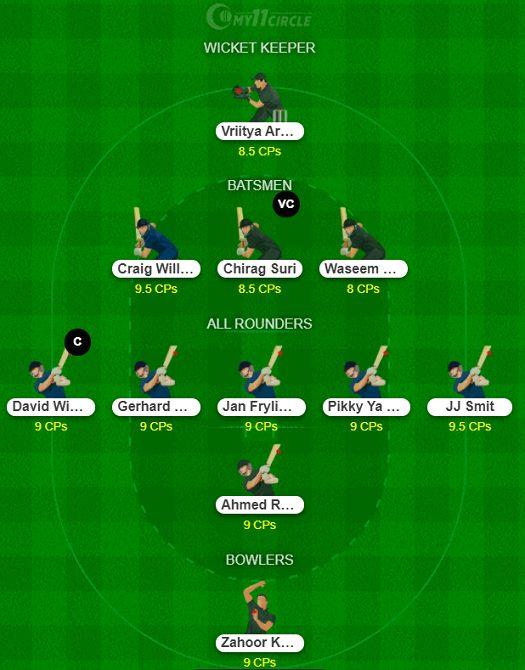 United Arab Emirates vs NAM Dream11 Team - Summer T20 Bash 2021